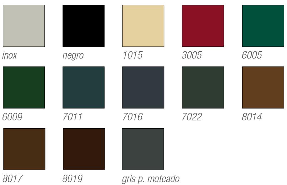 Colores y acabados estu00e1ndar para persianas de aluminio tu00e9rmicas